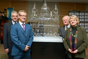 The team with the amazing ice sculpture of St Paul's Cathedral